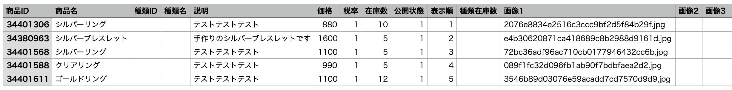 商品情報のCSVファイルの見本